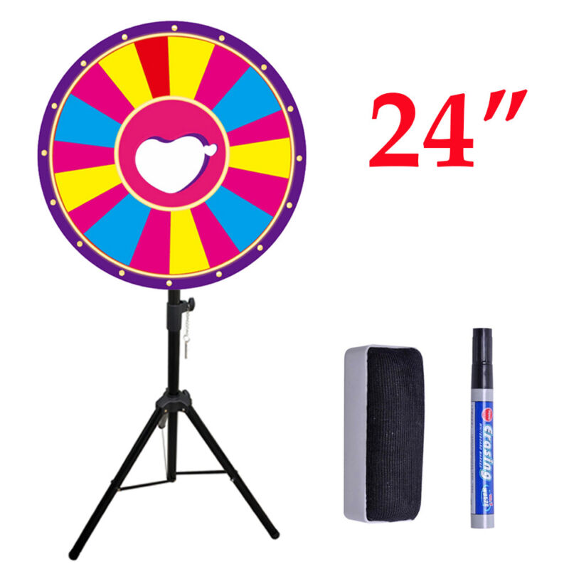 """18 Slots Color Prize Wheel Spinner with Adjustable Stand 24"""" Spinning Game"""