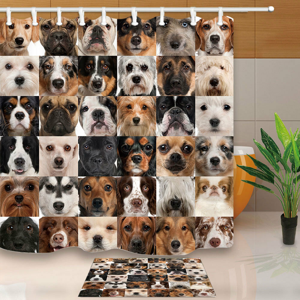 Collage of 36 dog heads Shower Curtain Bathroom Decor Fabric