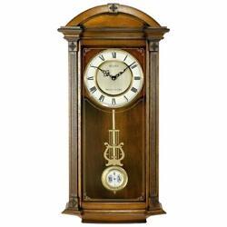 Bulova Clocks Hartwick 29 Inch Classic Walnut Pendulum Wall Clock (Open Box)