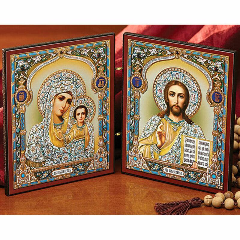 """Diptych Virgin Mary and Christ the Teacher 9 1/2"""" x 5 1/2"""""""