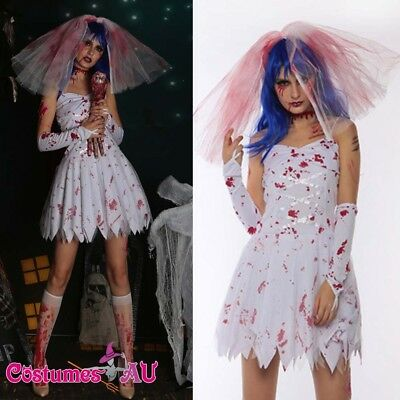 Ladies Halloween Zombie Bride Bloody Scary Fancy Dress Costume Horror (Scary Bride Costumes)