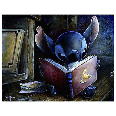 Disney Stitch Reading a Book Art  Print 16 x 20