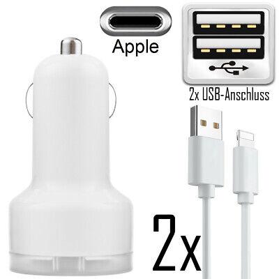 2x KFZ Auto Ladegerät für iPhone Xs X 8 7 6s 6 5SE Zigarettenanzünder Ladekabel