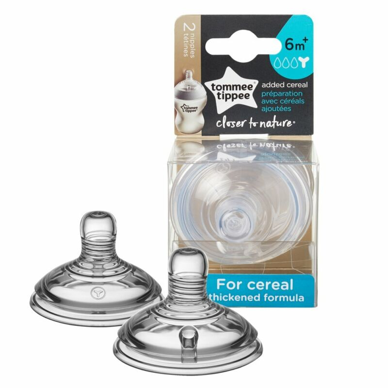 Baby Feeding Tommee Tippee Closer To Nature 2 Piece Added Cereal Nipples New