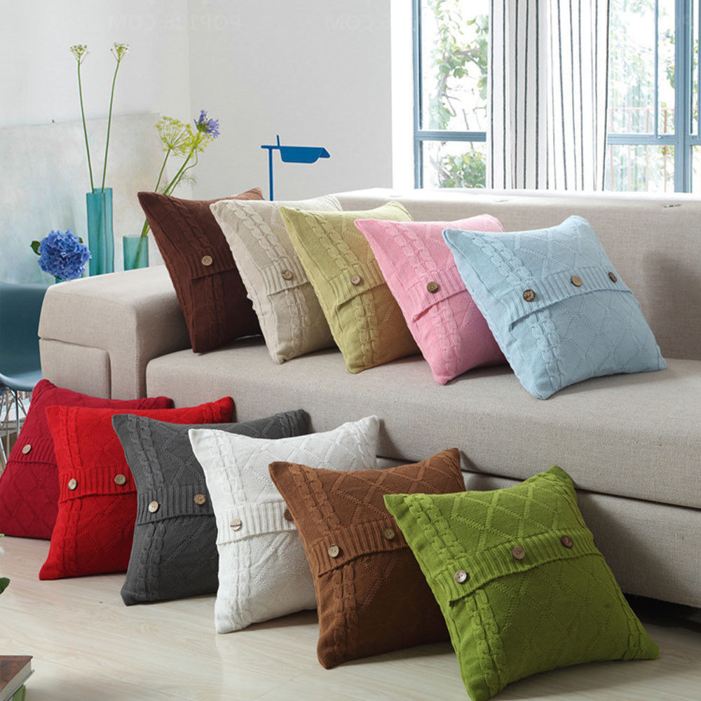 Knitting Button Throw Pillow Cases Cafe Sofa Cushion Cover H