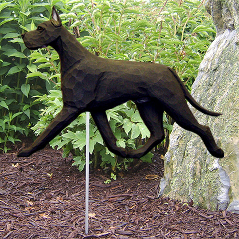 Great Dane Outdoor Garden Sign Hand Painted Figure Black