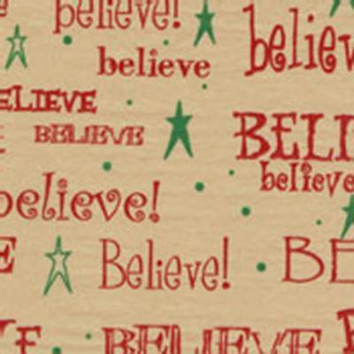 BELIEVE Tissue Paper on Kraft/Tan background  # 799 -- 10 Sheets -- Christmas - Tissue Paper Backdrop