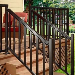 Aluminum Stair Hand and Base Rail Black Easy to Install Porch Balcony Deck 6 Ft