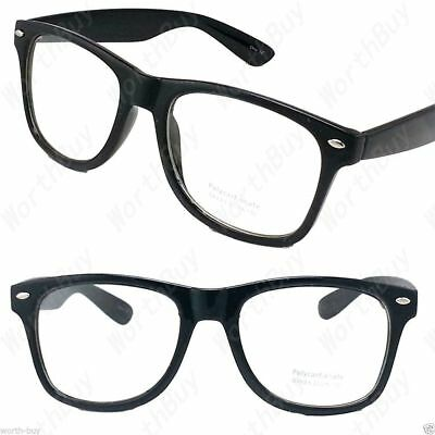 New Mens Womens Nerd Geek Cat Eye Designer Clear Lens Black Frame Retro Glasses