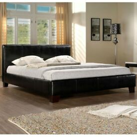 Faux double or king size leather bed frame with orthopedic and memory foam mattress