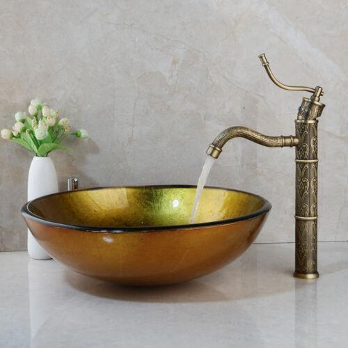 Runde Badezimmer Glas Waschbecken Waschbecken Schüssel & Messing Mischbatterie C