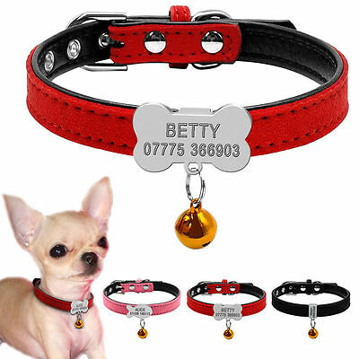 Small Custom Personalized Dog Collar with Bell Suede Leather