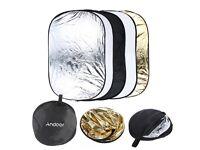 Andoer Foldable Photo Light Reflector for the Photographic Studio Portable 60 x 90