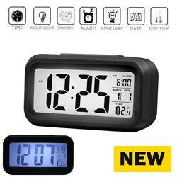 Battery Operated Cordless Digital Alarm Clock Smart Sensor Night Light, Date, Sn
