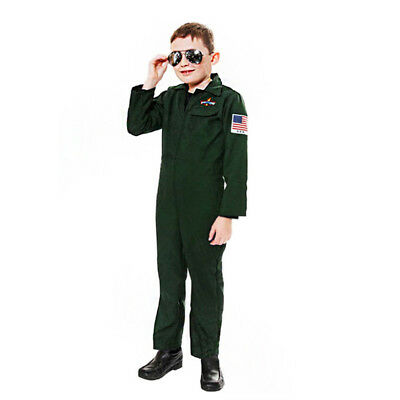 BOYS AVIATOR FANCY DRESS COSTUME ARMY PILOT CHILDS US MILITARY MOVIE BOILERSUIT - Childs Boiler Suit