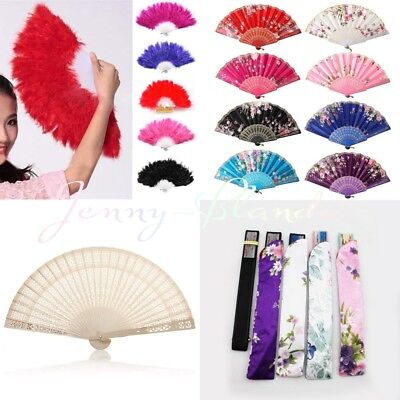 Folding Hand Fan - Best Chinese Style Dance Wedding Party Lace Silk Folding Hand Held Flower Fan