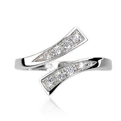 New Elegant .925 Sterling Silver Clear CZ Gemmed Adjustable Toe Ring