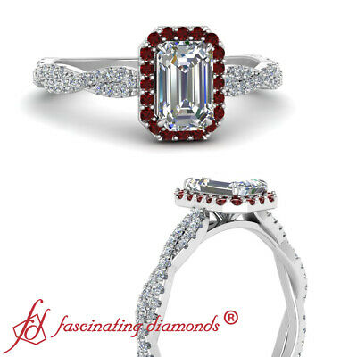 Infinity Twist Halo Engagement Ring With 3/4 Carat Emerald Cut Diamond And Ruby