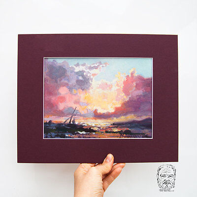 Seascape / Sailing Ship / Sun / Original Oil Painting by Sergej Hahonin 20x15 cm