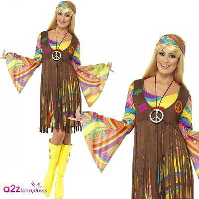 Damen 1960er 70er Jahre Groovy Hippie Hippie Lady Fancy Dress Kostüm (1960er Jahre Kostüm)