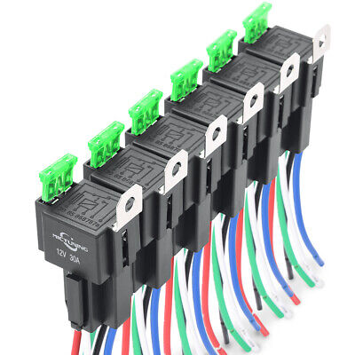 6Pack 5pin SPDT Bosch Car Relay Switch Harness Kit 30A ATO Fuse 14AWG Hot Wires