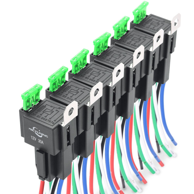 6 Pcs SPDT Bosch Car Relay Switch Harness Kit 5pin 30A ATO Fuse 14AWG Hot Wires