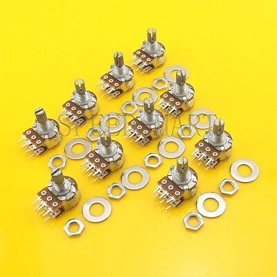 10 pcs B20K Ohm Dual Linear Rotary Potentiometer Pot 20mm Shaft 6 Pins for sale  China