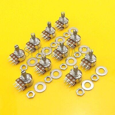 10 Pcs B50k Ohm Dual Linear Rotary Potentiometer Pot 15mm Shaft 6 Pins
