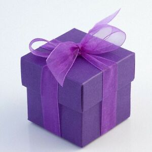 Luxury DIY Wedding Party Favour Gift Sweet Boxes - Purple Silk Range