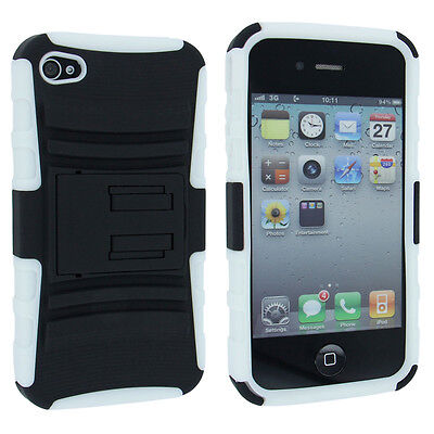 White and Black Hybrid Hard Case Cover with White Holster for iPhone 4 / 4S 4s White Hard Case