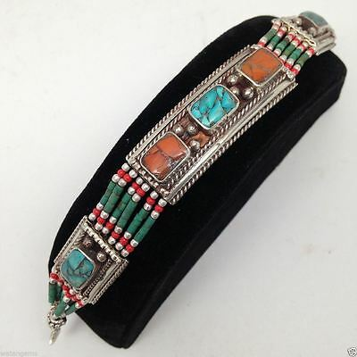 Vintage Nepalese Handmade Coral, Turquoise Bracelet German Silver Jewelry 7.5""