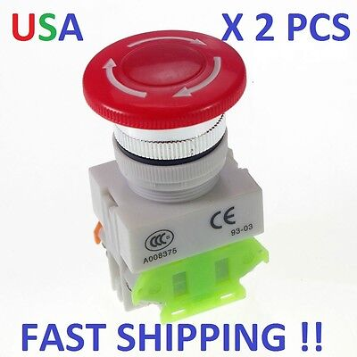 2 Pcs  Cnc Red Rotary Emergency Stop Mushroom Pushbutton Switch Free Shipping