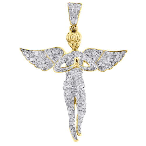 Round Diamond Angel Aile Collier Pendentif 14K Or Blanc Finition