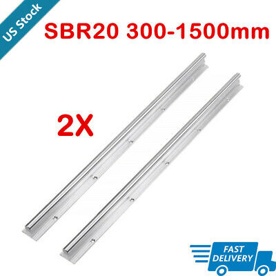 2x Sbr20 20mm Linear Rail Guide Slide Shaft Rod Fully Supported 300-1500mm Us