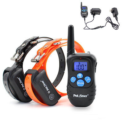 Petrainer Waterproof Rechargeable Electric Remote 2 Dog Shock Training Collar