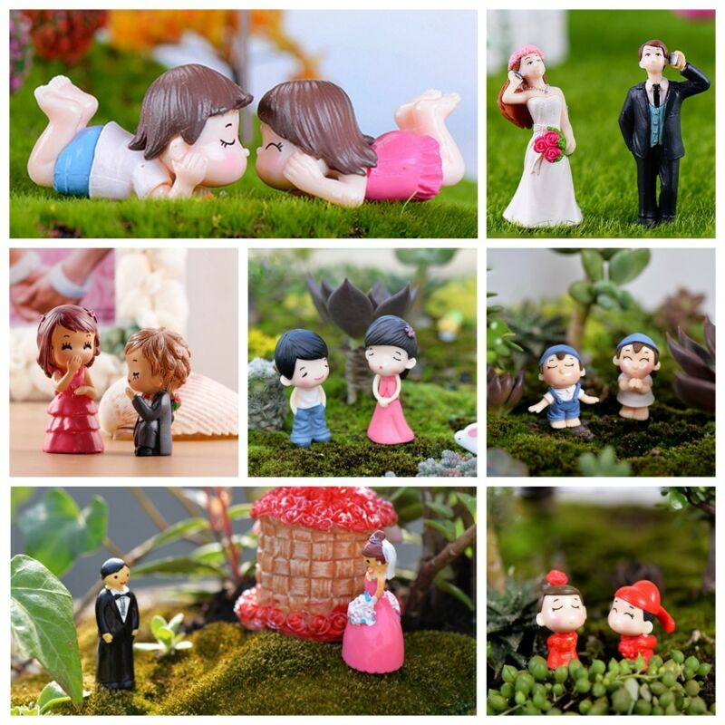 Fairy Sweety Lovers Miniatures Couple Garden Figurines Bonsai Ornament