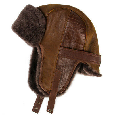 Brown Sheepskin Ushanka Hat with Ear Flaps. Natural, Warm & Durable Mens Hat Brown Mens Hat