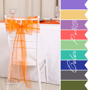 8-x108-Organza-Chair-Cover-Sash-Sashes-Bow-Wedding-Venue-Decoration-30-Colors
