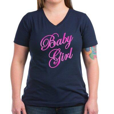 CafePress Baby Girl T Shirt Women's V-Neck Dark T-Shirt