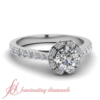1 Ct Round Ideal Cut FLAWLESS Diamond Halo Style Engagement Ring GIA Certified