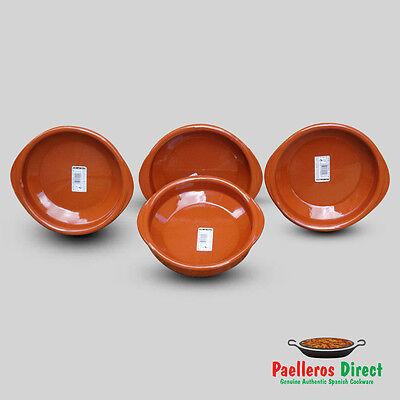 Set of 4 x 18cm Spanish Terracotta Tapas Dishes / Cazuelas