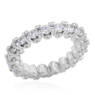 - ETERNITY RING FULL SIMULATED DIAMOND BAND RING SIZE 9.5 WEDDING TRAVEL PRONG SET