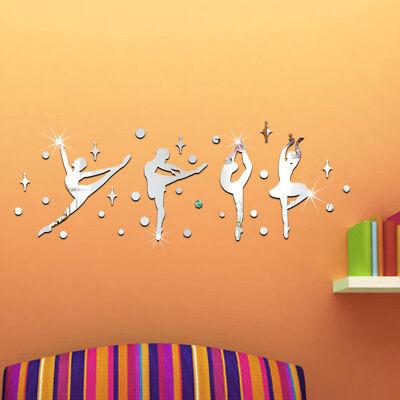 3D Acrylic Mirror DIY Wall  Decal Gymnastics Dance Girl Vinyl  Kids Room Decor
