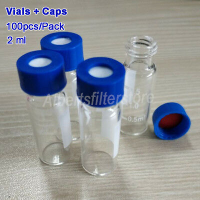100PCS 2 ML 9-425 CLEAR SAMPLE VIALS BOROSILICATE GLASS CHEMICAL REAGENT BOTTLE ()
