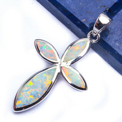 Opal Solid Cross (NEW SOLID WHITE AUSTRALIAN OPAL CROSS  .925 Sterling Silver Pendant 1.5