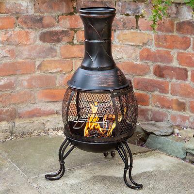 BLACK STEEL OUTDOOR CHIMINEA BRONZE GARDEN HEAT BBQ LOG WOOD BURNER PATIO HEATER
