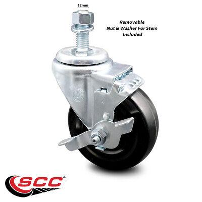 Hard Rubber Swivel Ts Caster W4 Wheel 12mm Stem Wbrake