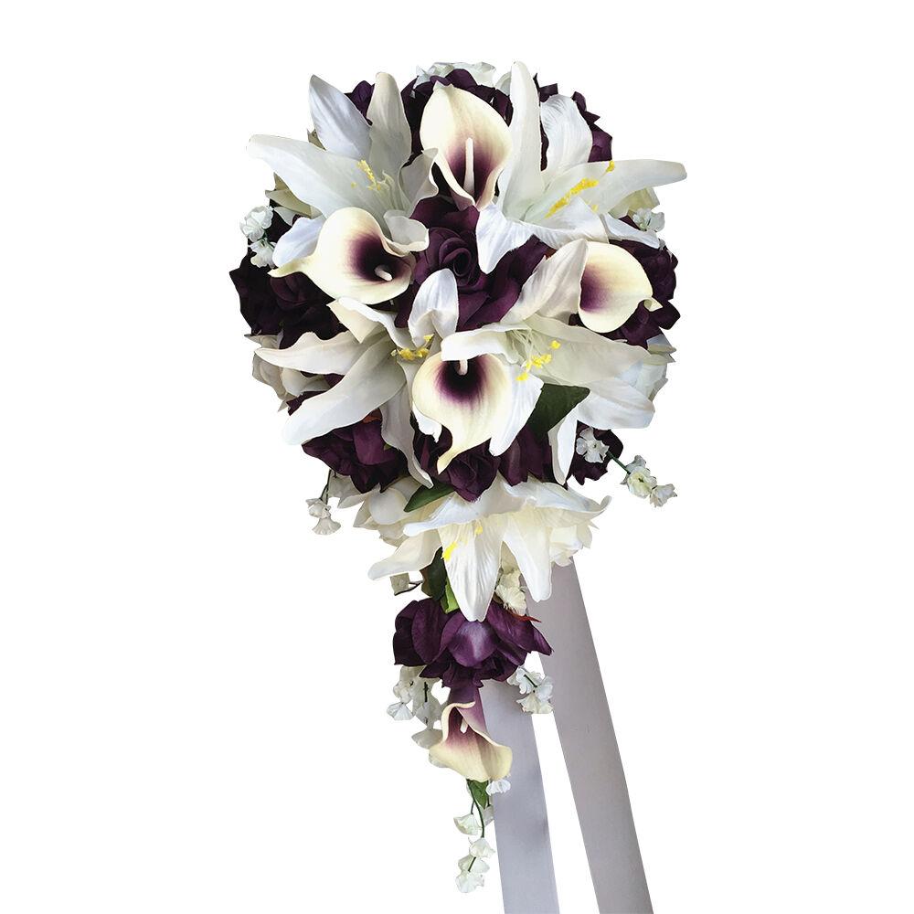 Cascade Wedding Bouquet - Plum Purple and Ivory Artificial