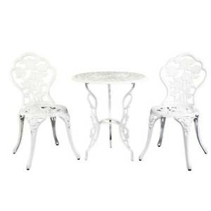 Outdoor Furniture Chairs Table 3pc Aluminium/Iron Bistro White Kings Beach Caloundra Area Preview