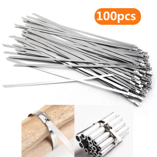 100pcs Stainless Steel Metal Cable Wire Zip Ties Wrap Self-Locking 30cm Length